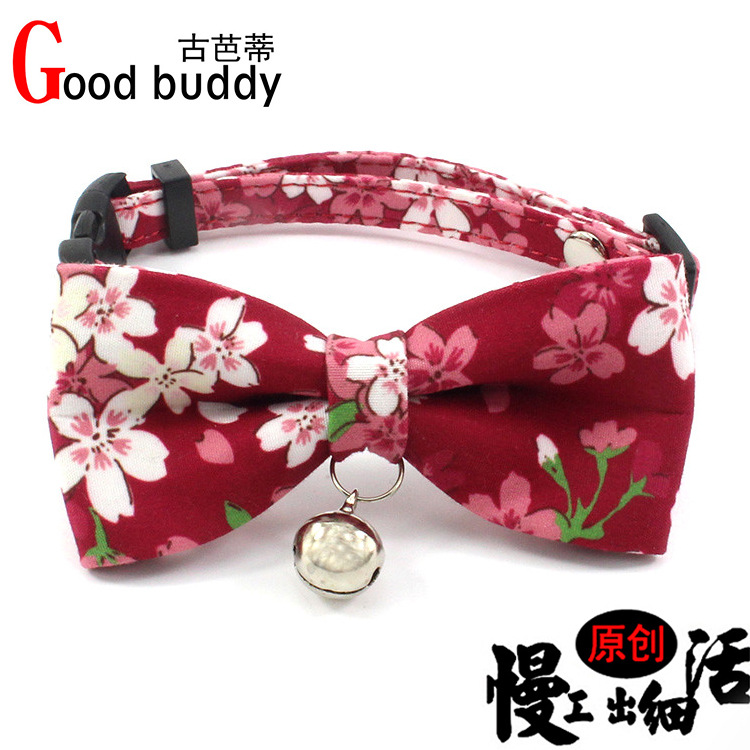 Copper Bell Cat Neck Ring Small And Medium-sized Dogs Dog Bo Dai Fabric Bow Pet Collar Dog Tags