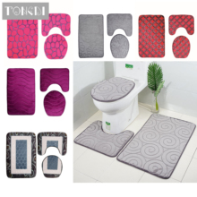 TONGDI Bathroom Carpet Toilet Set 3D Geometric Pattern Velvet Soft Shower Elastic Absorbent Sop Non-slip Mats Decoration For