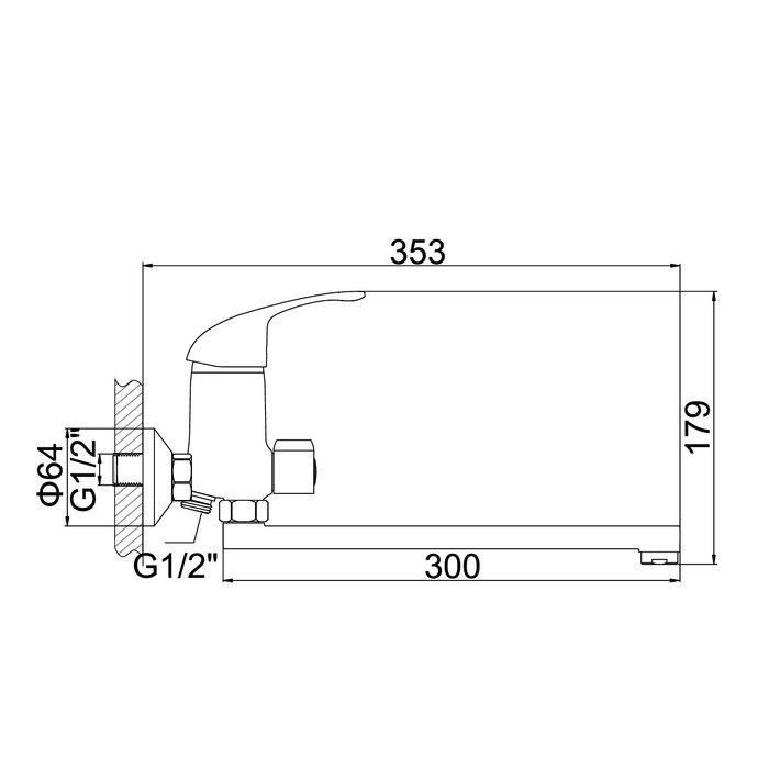 Single lever bath mixer Accoona A7143 silumin chrome 3114226