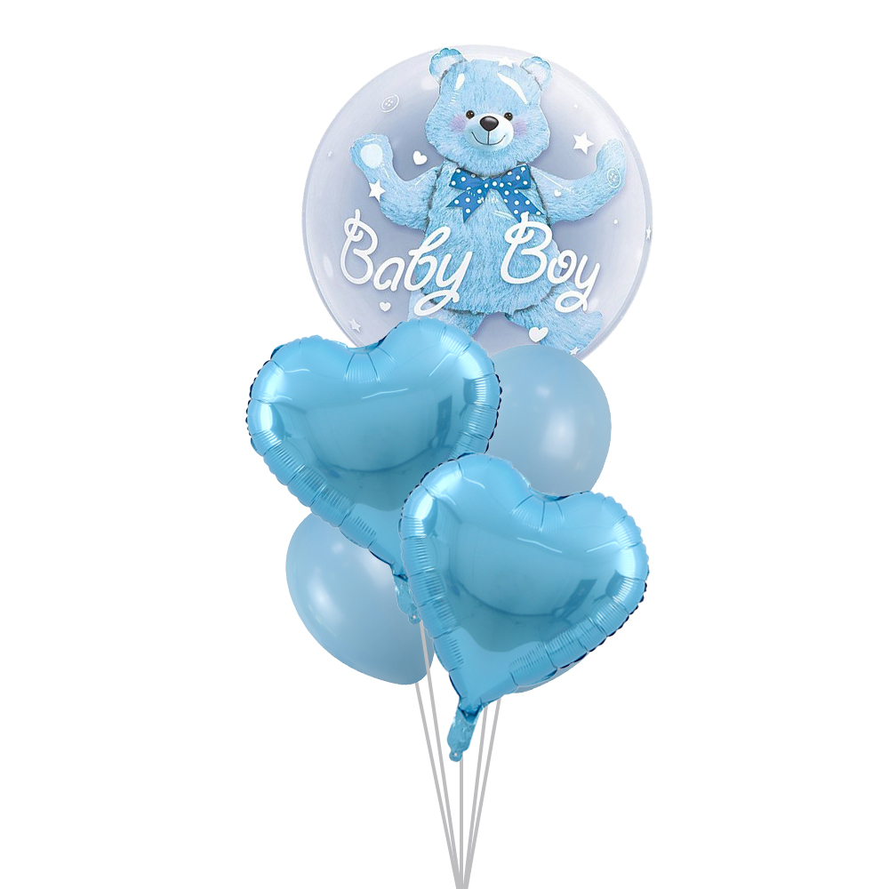 24inch Baby Boy Bear or Girl Blue Pink Bubble Bear Foil Balloons Birthday 1 year Baby Shower Decorations Kids Toys Ball in Ball