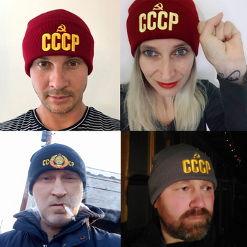 CLIMATE Men's Winter Hat CCCP Beanie Hat Russia Soviet Union Hat Communist Party Black Women Warm Knit Beanie Hat for Men Women