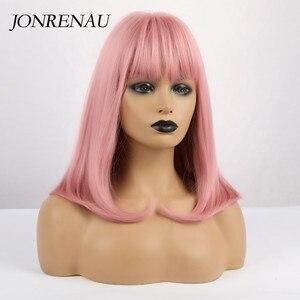Image 4 - Jonrenauショートストレート前髪と合成オンブル黒牛乳茶の色のかつらブラック/ホワイトの女性