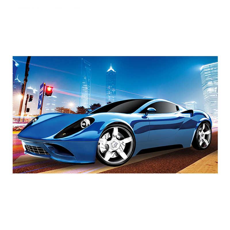 Karikatur Spor Araba Elmas Boyama Tam Mavi Ferrari Yeni Diy