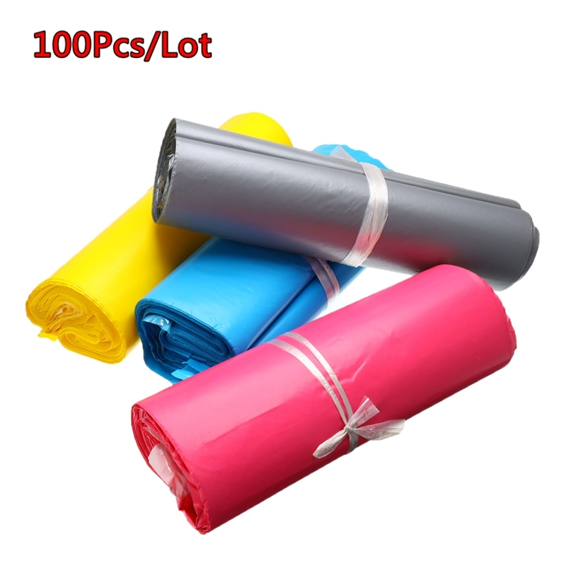 100Pcs/Lots Colorful Plastic Self-seal Adhesive Envelope Bags Different Size Courier Storage Bags Postal Shipping Envelope Bags