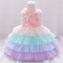 Yoliyolei новейшее Цветочное платье для маленьких девочек многослойное
