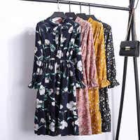 Chiffon Floral Print Dress Women 2019 New Arrival Ladies Elegant Long Sleeve Midi Party Dress Female Casual Vestidos Mujer robe