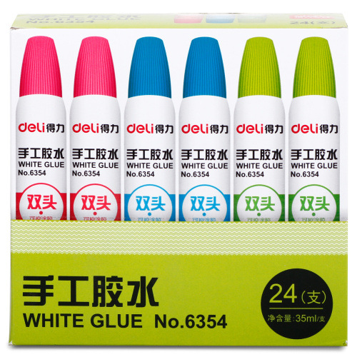 Deli 6354 Handmade White Glue Double Headed Controllable DIY Glue 35 Ml Students Fine Art Liquid Glue