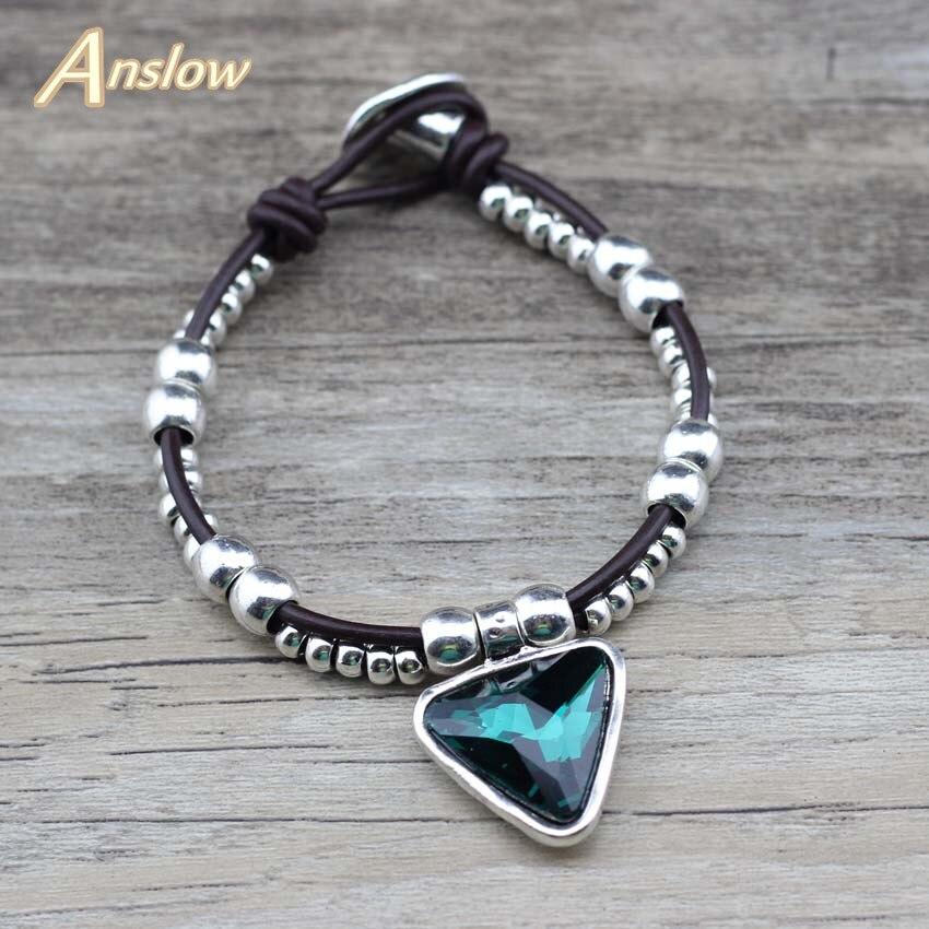 Anslow Autumn Winter Trendy Style Women Couples Lover Leather Bracelet Female Crystal Metal Women Bracelet Jewelry LOW0760LB in Charm Bracelets from Jewelry Accessories