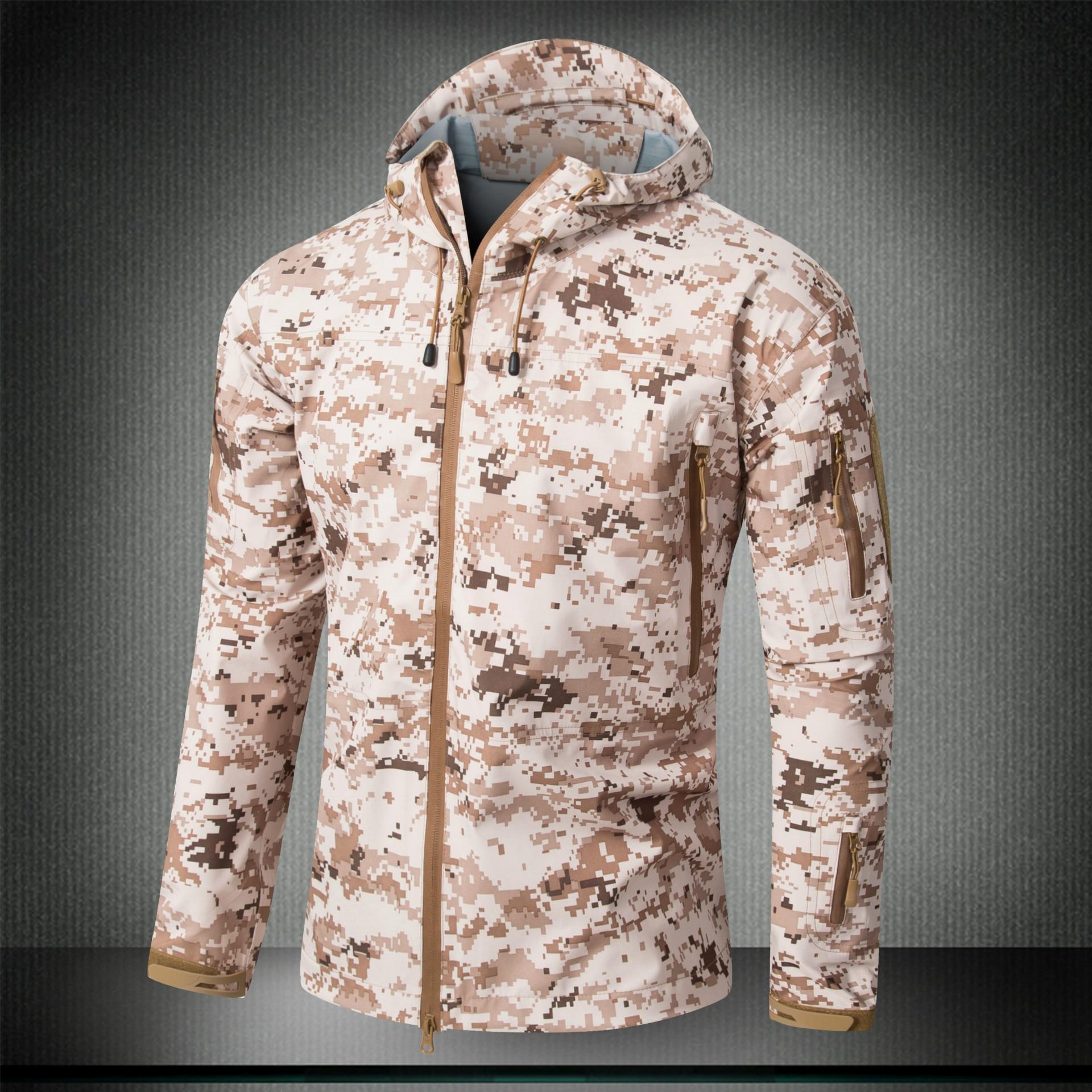 Men's Jacket Waterproof Hardshell Coat Hunting Military Tactical Outdoors Clothing Desert Digital Camouflage