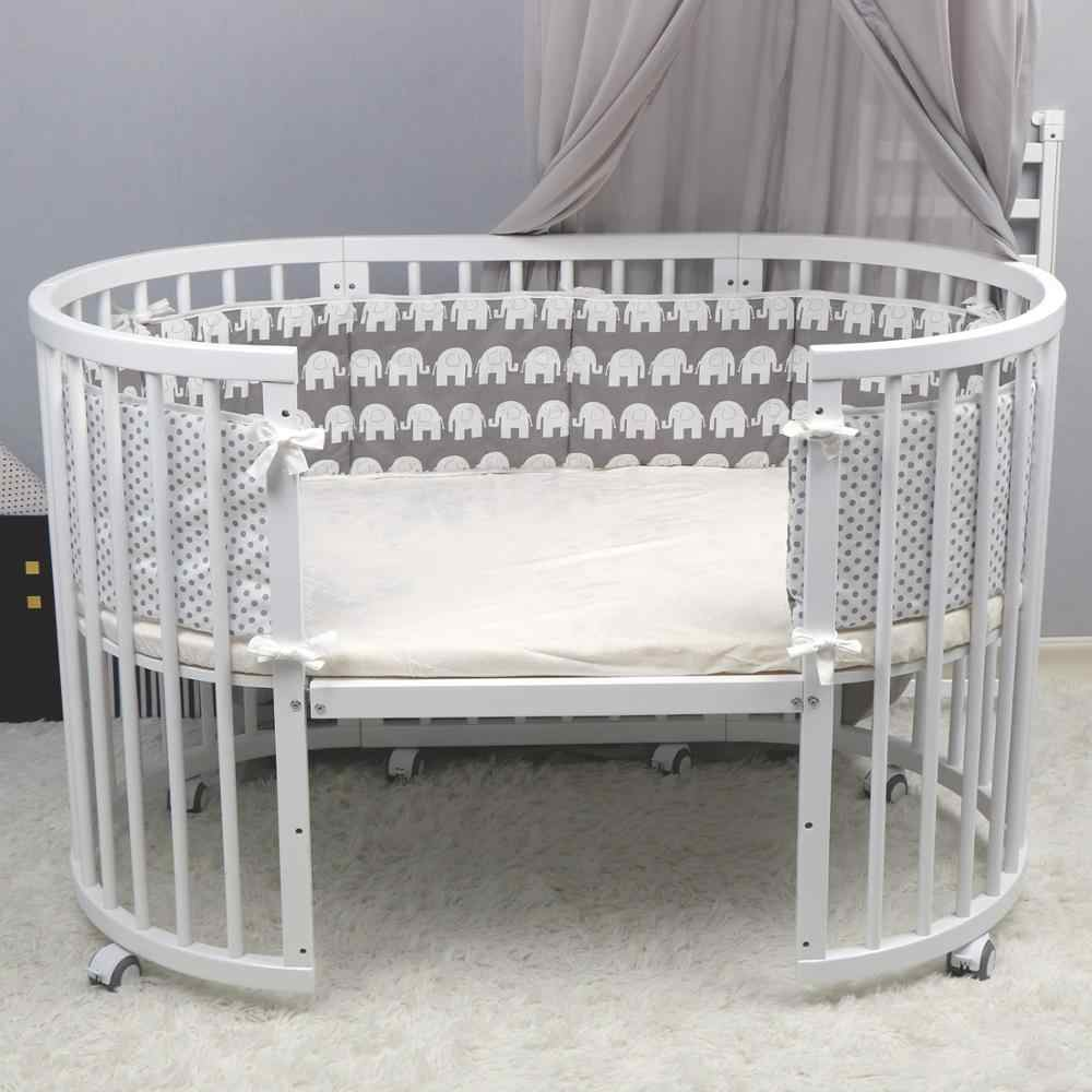 Breathable Cotton Crib Bumper Pads Crib Bumper Pads Washable Padded Crib Liner Set for Baby Boys Girls Safe Bumper
