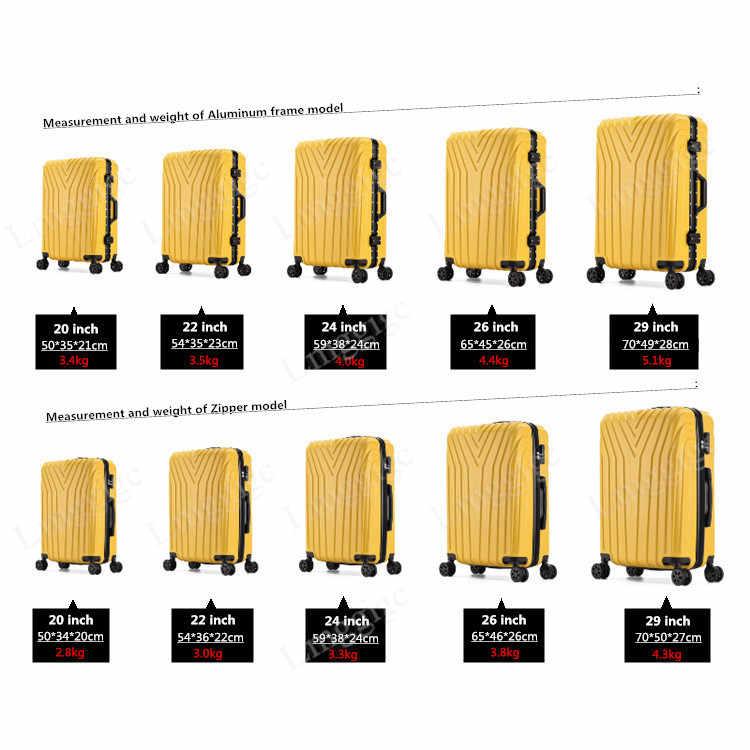 """20 """"22"""" 24'26 """"29 cal walizka torba, uniwersalny koła bagaż podręczny, ABS + PC bagażu, zamek błyskawiczny i aluminiowa rama walizka podróżna, podróż wózek"""