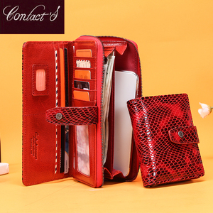 Image 1 - Billeteras de piel de cocodrilo rojo para mujer, bolso de mano femenino, tarjetero Rfid, billeteras teléfono móvil de lujo, monedero, billetera de bolsillo para monedas