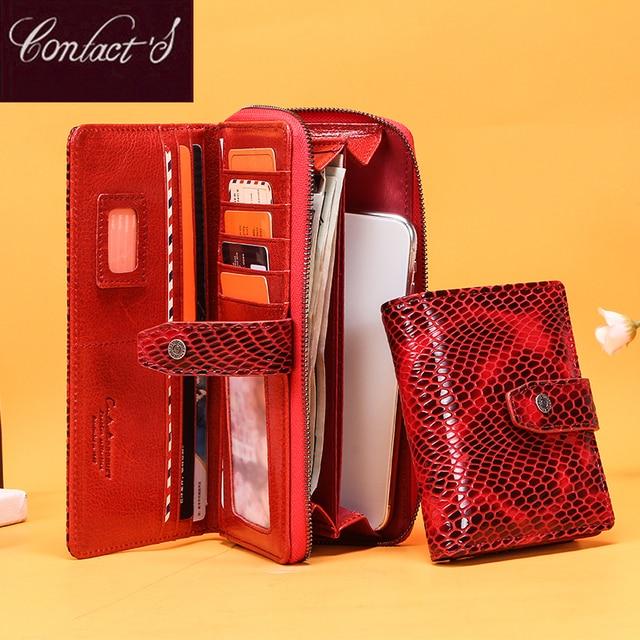 Billeteras de piel de cocodrilo rojo para mujer, bolso de mano femenino, tarjetero Rfid, billeteras teléfono móvil de lujo, monedero, billetera de bolsillo para monedas