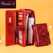 악어 레드 여성 가죽 지갑 여성 클러치 백 Rfid 카드 홀더 럭셔리 핸드폰 지갑 지갑 레이디 동전 주머니 지갑