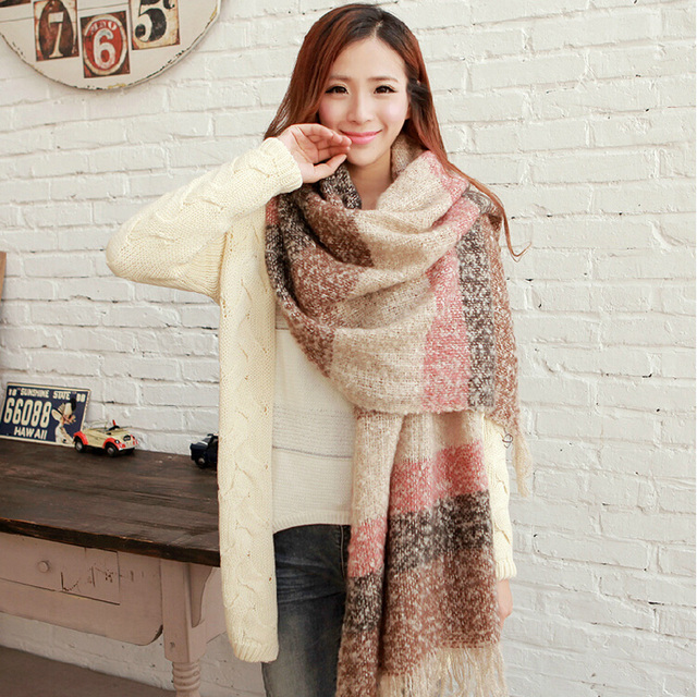 2020 Women Fall Winter Mohair Cashmere Like Scarf Long Size Warm Fashion Scarves & Wraps For Lady Casual Patchwork Accessories 1