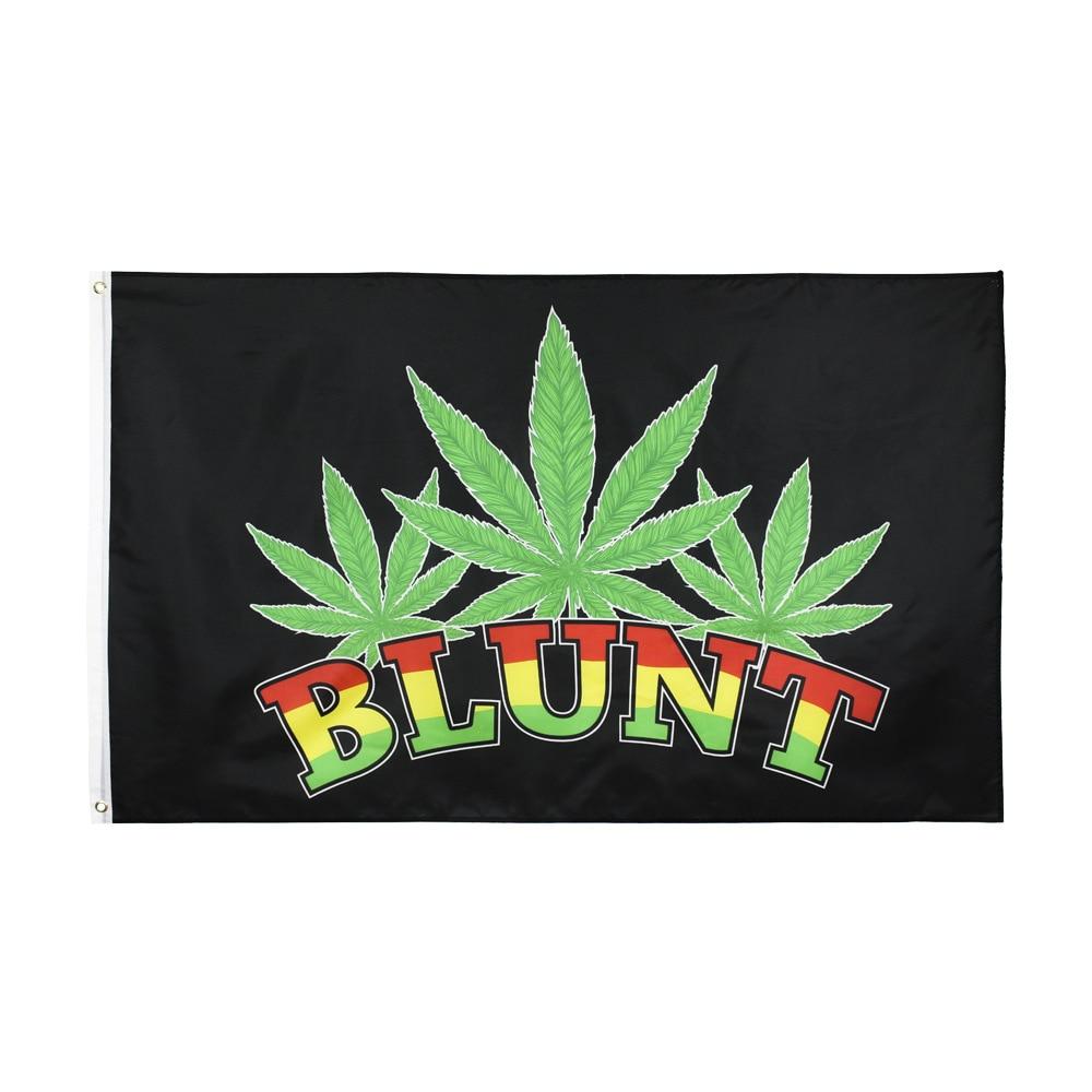 Blunt Flag Leaf Rasta Reggae Jamaica Music Flag Rasta Reggae Jamaica Flag 150* 90cm 3ft x 5ft Custom Banner Metal Holes Grommets