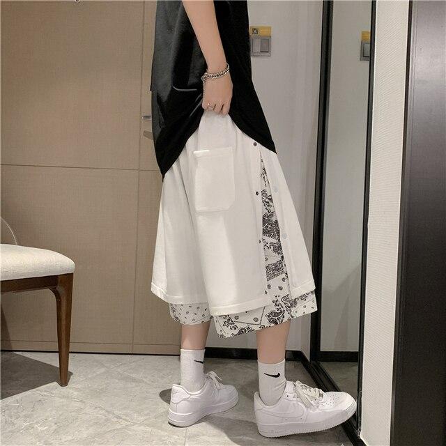 Fake two cashew flowers knee length casual sports mens shorts men's summer wear trendy 5-5 pants short streetwear sweatpants 3