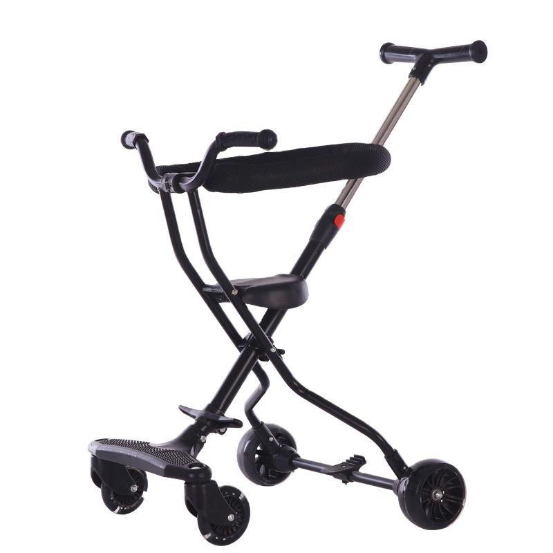 Children's trolley heightening guardrail four-wheeled multi-function walker with brake folding baby stroller