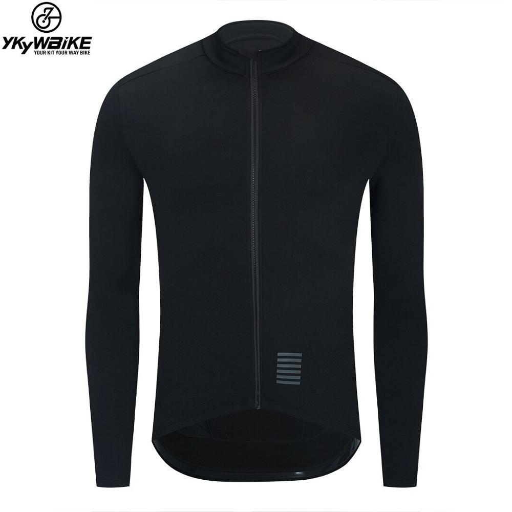 YKYWBIKE WINTER JACKET Thermal Fleece Men Cycling jacket Long Sleeve Cycling Bike Clothing black