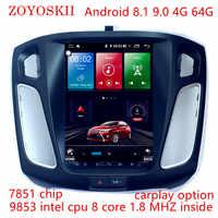 ZOYOSKII Android 9.0 10.4 pouces IPS écran vertical voiture gps multimédia radio bt lecteur de navigation pour ford focus salon 2012-2016