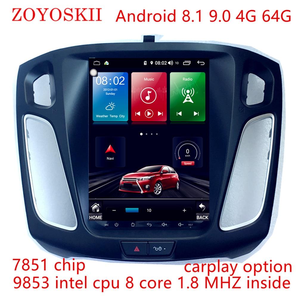 Zoyoskii android 9.0 10.4 polegada ips tela vertical carro gps multimídia rádio bt jogador de navegação para ford focus salão de beleza 2012-2016