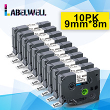 Labelwell 5/10PK 9mm*8m 221 Black on White label tape Compatible for 221 121 421 521 621 721 821 921 compatible for Label Maker