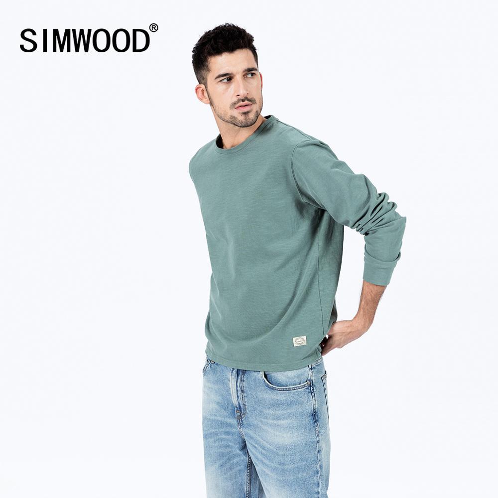 Мужская футболка SIMWOOD, Весенняя Однотонная футболка из хлопка с круглым вырезом, большого размера, SJ170114, 2020 Футболки      АлиЭкспресс