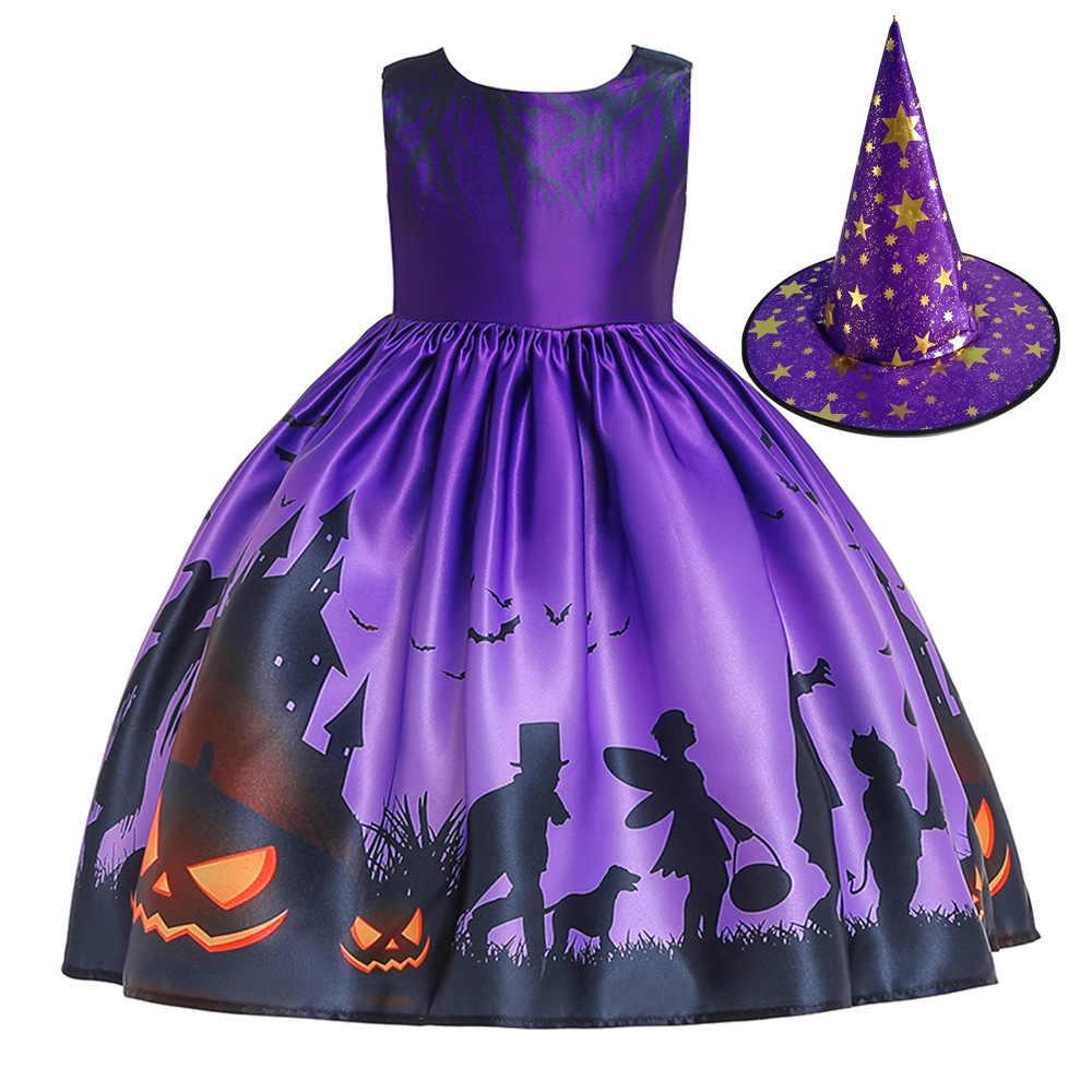 Piękne druku krótki rękaw Black przebranie na Halloween dla 3-8 lat dziewczyny w magazynie dziewczyny pierwsza komunia święta sukienki