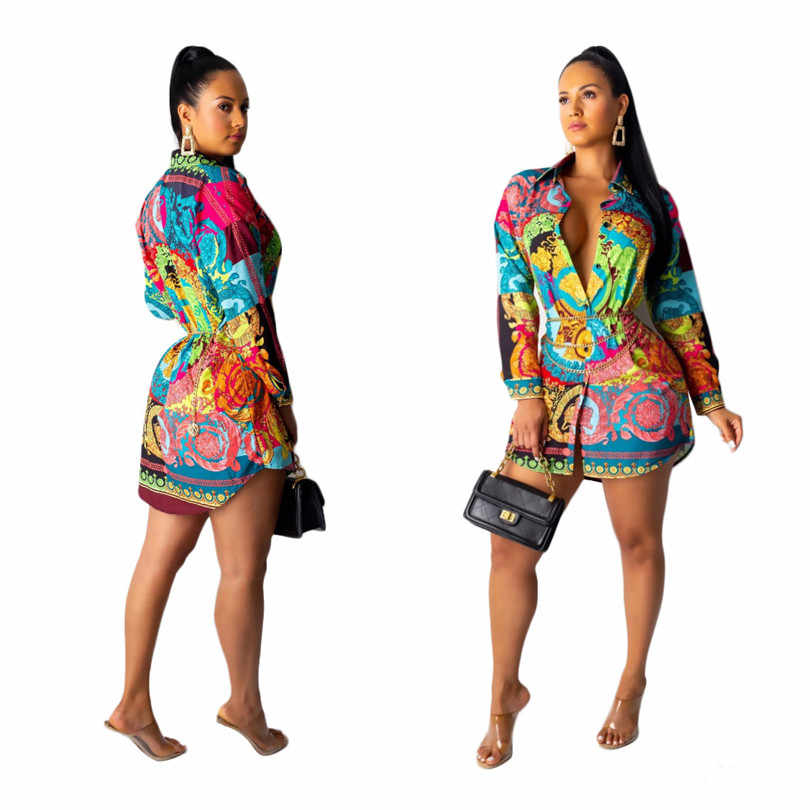 Kadın moda, dijital çok renkli baskı ve uzun etek vardır çok yönlü ve seksi uzun kollu