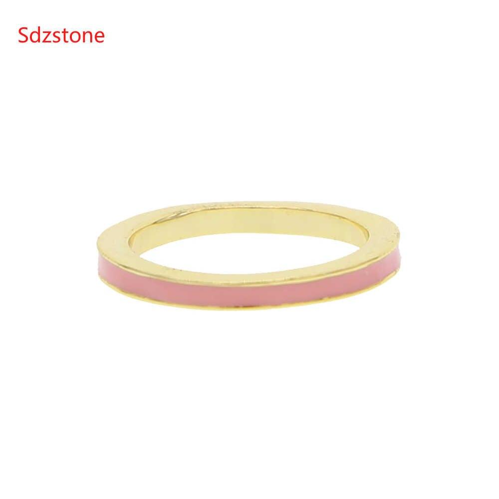 Birthstone เคลือบแหวนผู้หญิงวันเกิดของขวัญสีสันเคลือบเรขาคณิตหมั้นแหวน