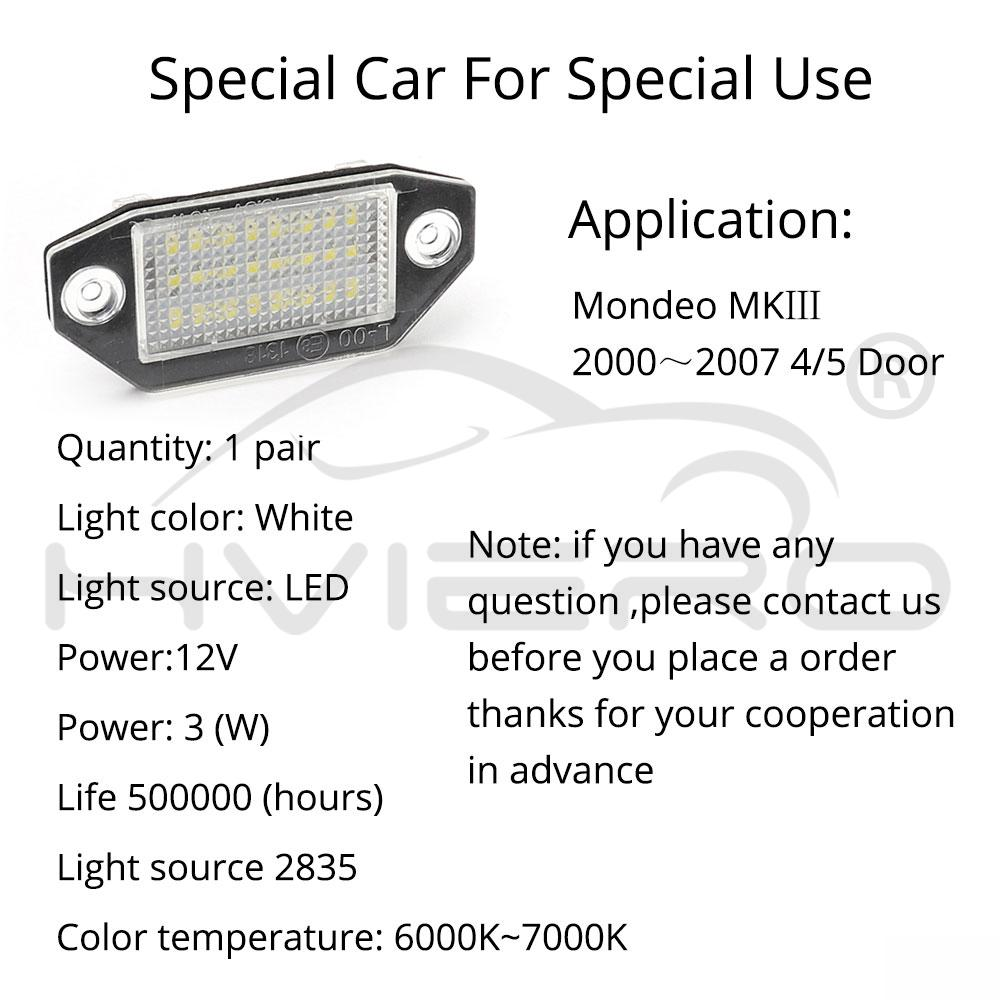 24SMD No Error LED Number License Plate Light Lamp For Ford Mondeo MK3 2000-2007