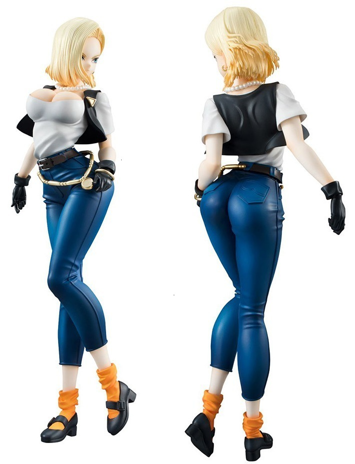 NEW hot 20cm <font><b>Dragon</b></font> <font><b>ball</b></font> <font><b>sexy</b></font> Android 18 lazuli Action <font><b>figure</b></font> toys collection doll Christmas gift with box Second generation image