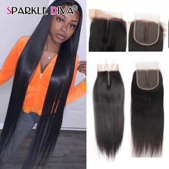 Extensiones de cabello humano liso con cierre, pelo largo Remy de 8-40...