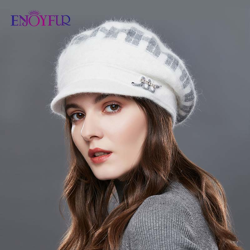 Image 2 - ENJOYFUR Rabbit Knitted Women's Hats Warm Thick Visors Cap For Winter High Quality Plaid Middle Aged Lady Caps Casual Hat Female-in Women's Skullies & Beanies from Apparel Accessories
