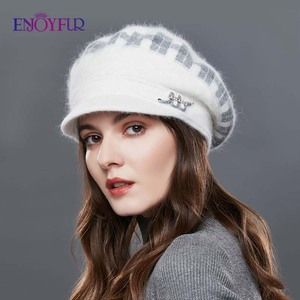 Image 3 - ENJOYFUR Rabbit Knitted Womens Hats Warm Thick Visors Cap For Winter High Quality Plaid Middle Aged Lady Caps Casual Hat Female