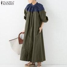 Mulheres primavera vestido de verão zanzea 2021 elegante retalhos vestido casual puff manga maxi vestidos femininos o pescoço oco robe oversized 7