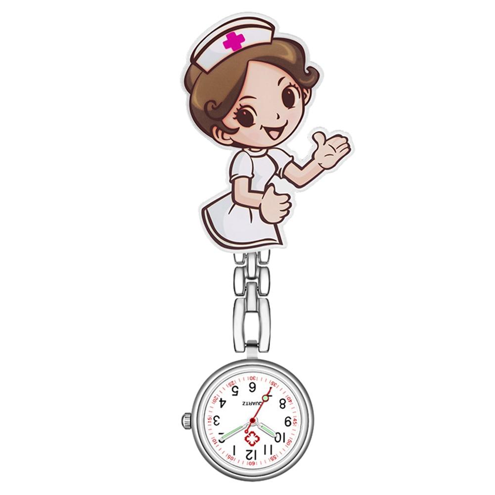 Waterproof Retro Mini Student Girl Hanging Watch Digital Quartz Clip Type FOB Nurse Doctor Watch Hanging Female Lady's Luminous