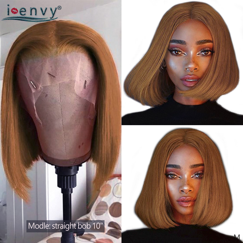 Gold Blonde Lace Front Wig Human Hair Straight Short Bob Wigs For Women Remy 13X4 Brazilian Ginger Blonde Bob Lace Front Wig 180