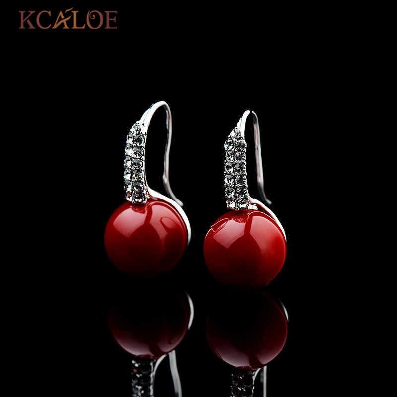 KCALOE Hochzeit Rot Braut Ohrringe Kristall Strass Simulierte Korallen Hängen Ohrringe Für Frauen Argollas Oreja Orecchini Rossi