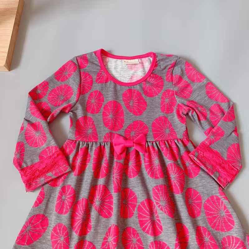 สาวใหม่ฤดูร้อนออกแบบเด็กผ้าฝ้าย plum ดอกไม้รูปแบบลูกไม้สีเทาผ้าไหม Dark swirl ชุด