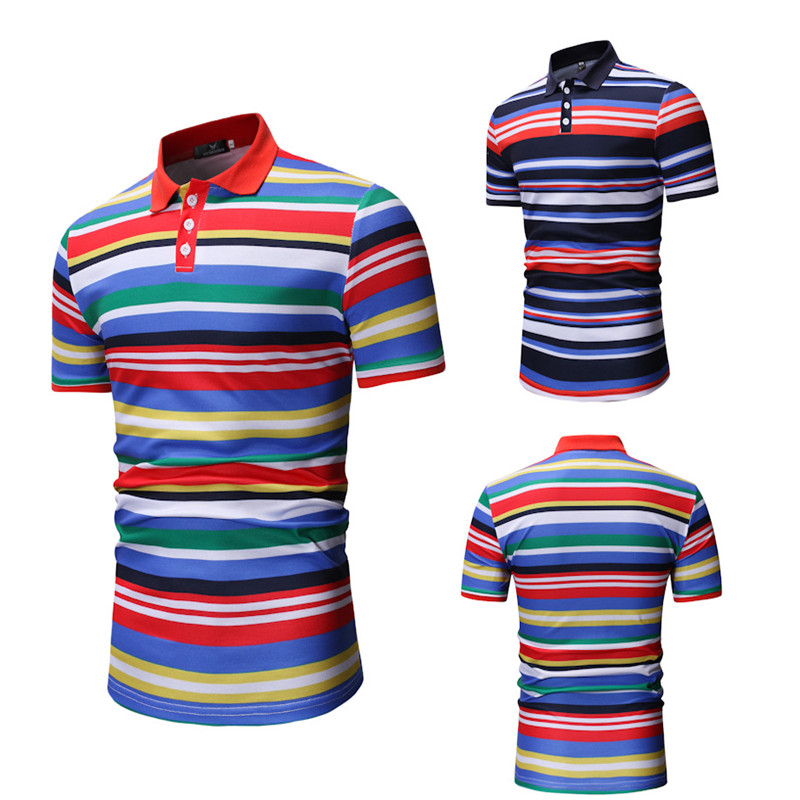 Men's   Polo   Shirts Cotton Blends Striped Button Casual Tops Slim Fashion Sports stripe short sleeve   polo   shirt Men 2019