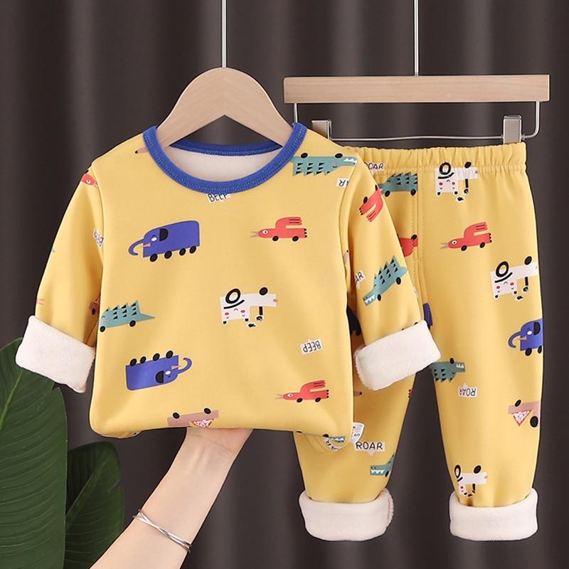 New Boys Girls Pajamas Autumn Winter Long Cotton Sleeve Children's Clothing Sleepwear Cotton Pyjamas Sets For Kids 2 4 6 8 Years