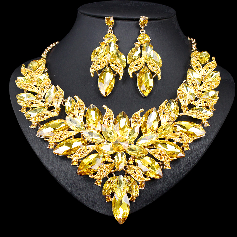Luxury Gold Colour Spakling Crystal Necklace Earrings Jewelry Sets Party Wedding Accessories Indian Bridal Costume Jewellery