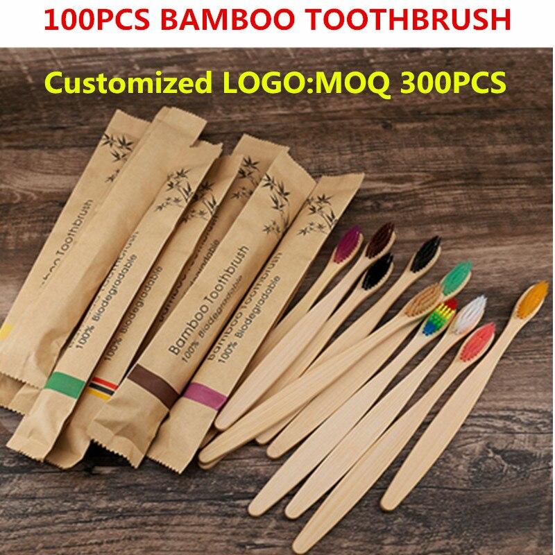 50 / 100 шт Портативный бамбуковые зубные щетки экологически чистые деревянные электрическая зубная щетка для взрослых детей индивидуальные ...