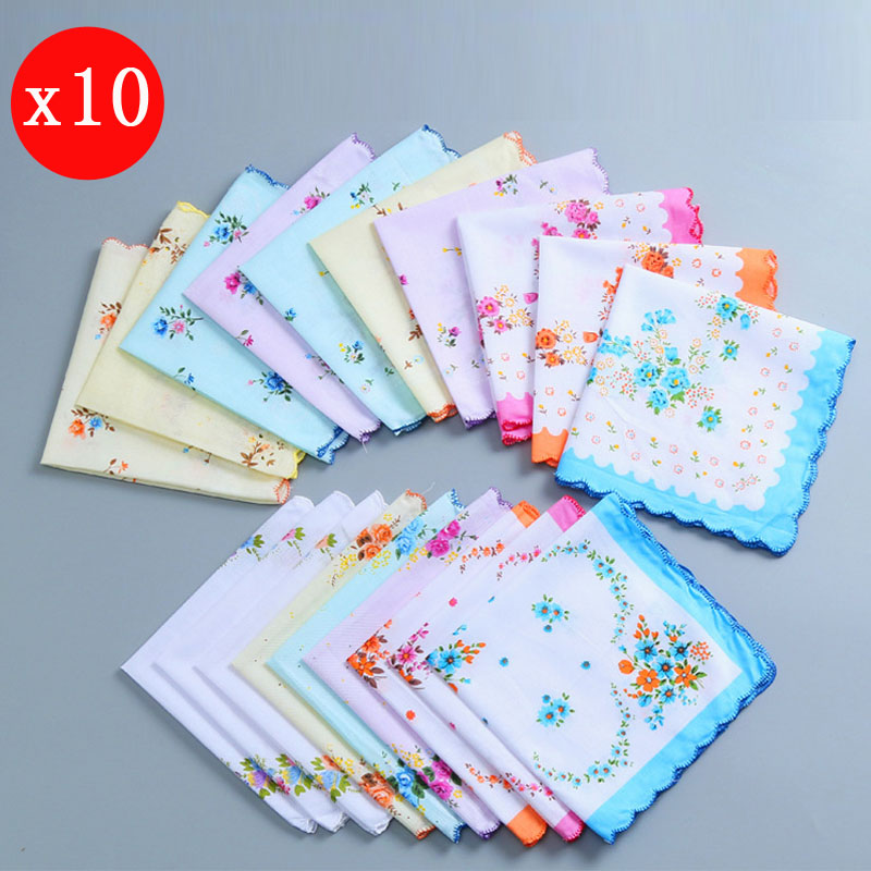 10pcs 30*30cm Women Cotton Handkerchief Ladies Flower Printed Hanky Kerchiefs Pocket Square Blossom Design With Wavy