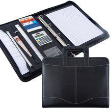 Fashion A4 Document File Folder PU Leather with Calculator Binder Handle Zipper stationary Business Padfolio manager folder logo