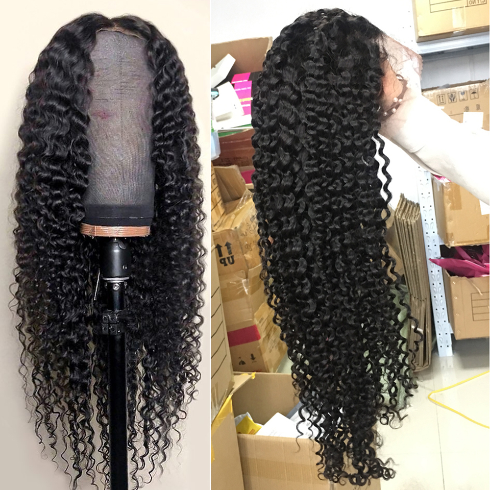 Sapphire Brazilian Kinky Curly Lace Front Human Hair Wigs PrePlucked Baby Hair Lace Frontal Human Hair Wigs For Black Women