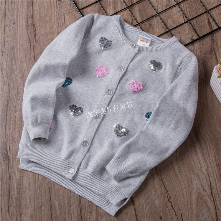CHILDREN'S Sweater New Style Girls Sequin Knitted Cardigan Europe And America Children Heart Embroidered Sweater Coat W18143