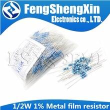 Металлический пленочный резистор 1/2 Вт 1%, 50 шт., 1R ~ 2,2 M 100R 220R 330R 1K 1,5 K 2,2 K 3,3 K 4,7 K 10K 22K 47K 100K 100 220 330 1K5 2K2 3K3 4K 7 Ом
