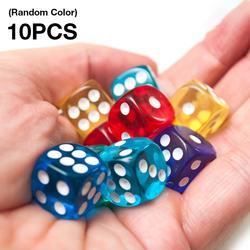 10 Pçs/set Jogo Dice Dice Set Transparente Conjunto De Mesa Jogos de Tabuleiro 16mm Cor Aleatória Do Partido Suprimentos Jogo de Dados Digitais Atacado